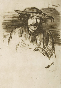 'Whistler with a hat', 1859, Hunterian Art Gallery, 46744