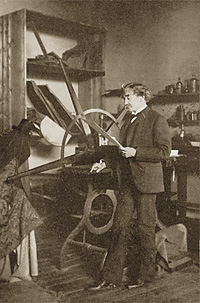 Whistler with his etching press in Paris